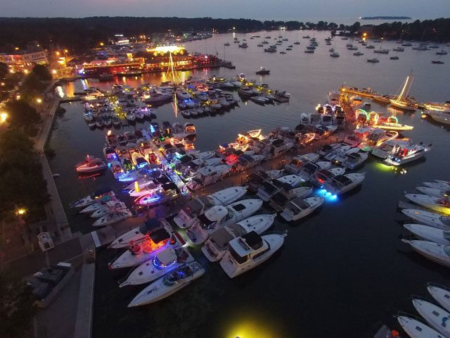 Put in Bay - An aerial shot of the Put-in-Bay harbor at night.