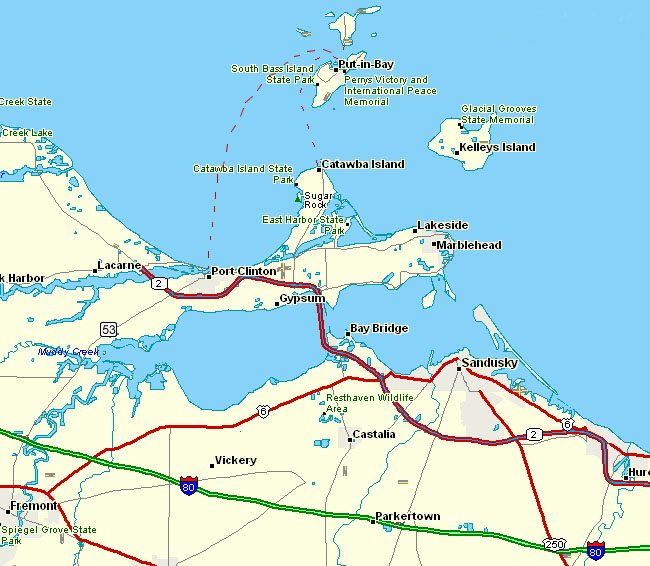 Maps- Map of Put-in-Bay with major roads