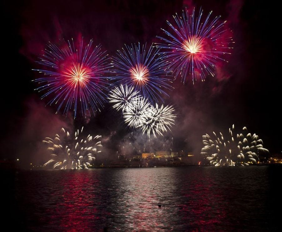 Photo of fireworks over Put-in-Bay Harbor.