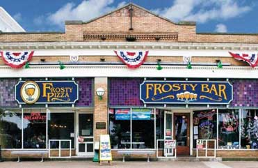 Frosty's Family Pizza And Bar - Store front view of Frosty's Bar and Frosty's pizza restaurants on the Put-in-Bay, Ohio island.
